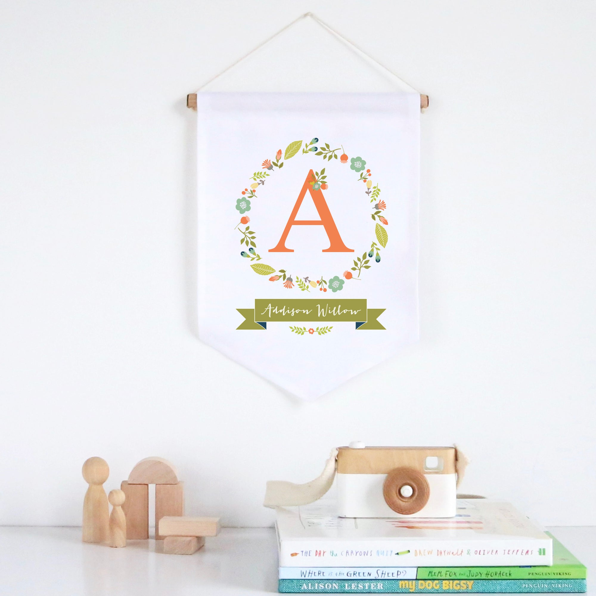 Floral Wreath Pennant Wall Banner