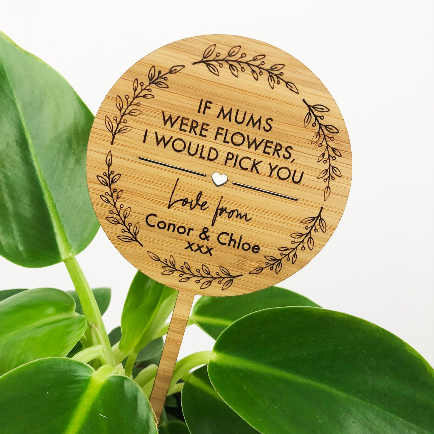 Round Mother's Day Bamboo Planter Stick