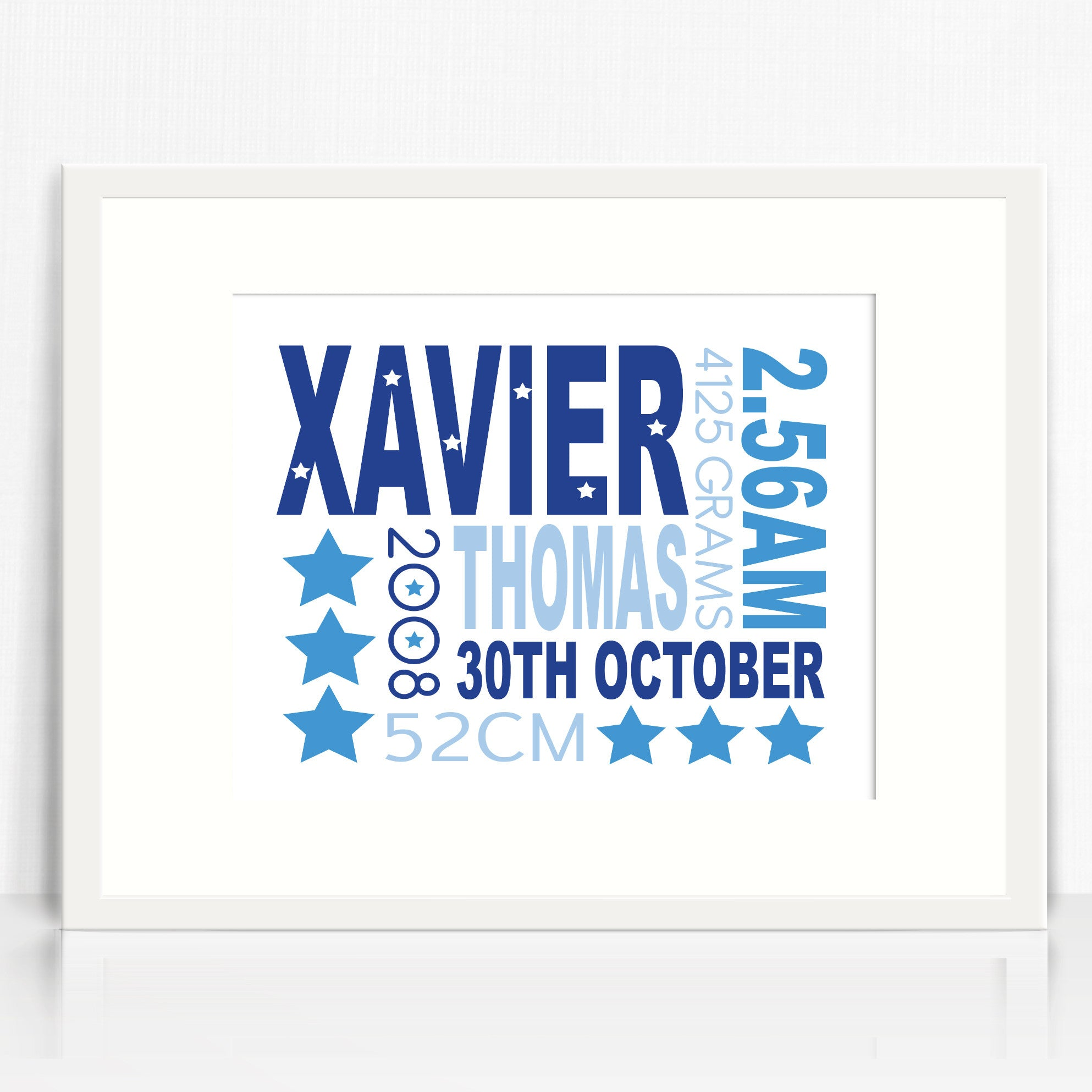 Xavier Text Birth Print