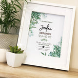 Black Acrylic Ferns Birth Print