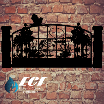 ECF Bass Single Swing Entry Gate - Edwards Custom Fabrication