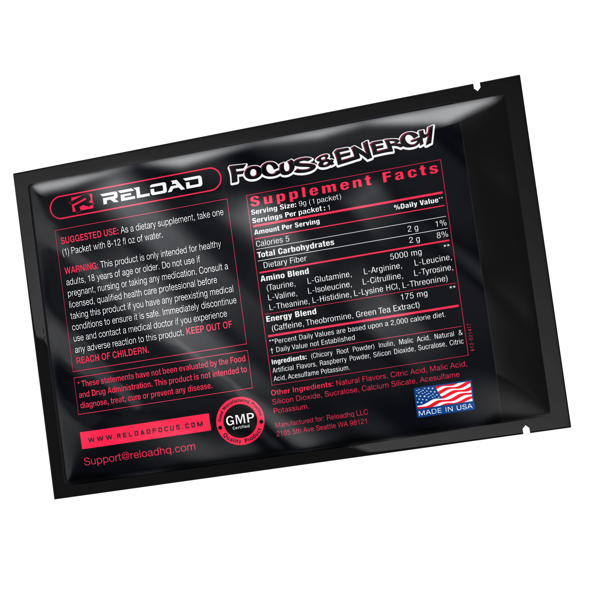 3 RASPBERRY ICED TEA SINGLE SERVING PACKS - Reload Focus & Energy