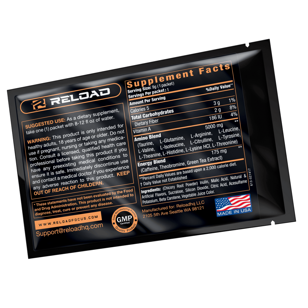 5 PACK SAMPLE (Just Pay Shipping!) - Reload Focus & Energy