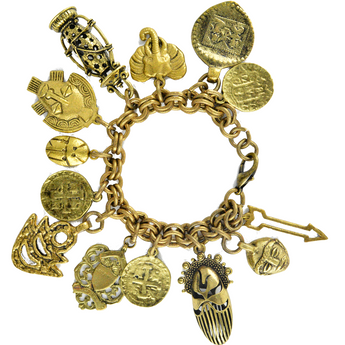 Booty Antique Gold Charm Bracelet