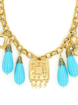 The Ashley Gold and Turquoise Charm Necklace
