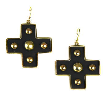 Cross My Heart Gold Earrings