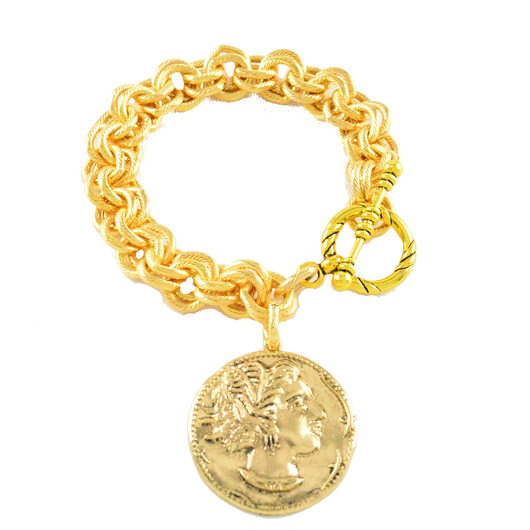 Charmed I'm Sure Single Gold Coin Charm Bracelet