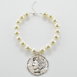 Hail Caesar! Pearl and Silver Coin Short Necklace