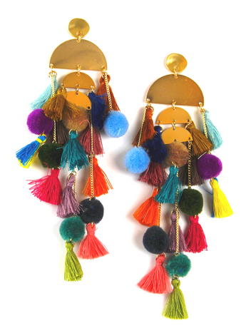 Pom Pom Party Tassel Statement Earrings