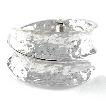 Hammered Silver Hinged Cuff