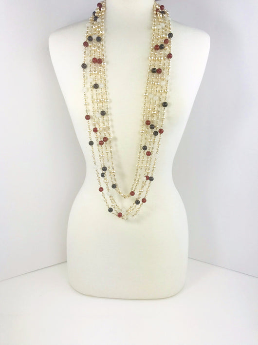 Red, Black and Pearls Necklace
