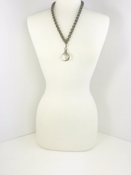 The Cassie Gunmetal and Crystal Short Necklace