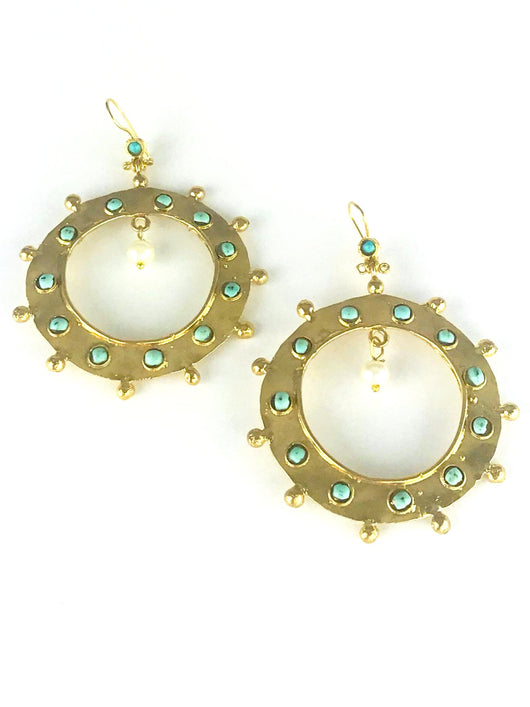 Circle Back Gold Turquoise and Pearl Earrings