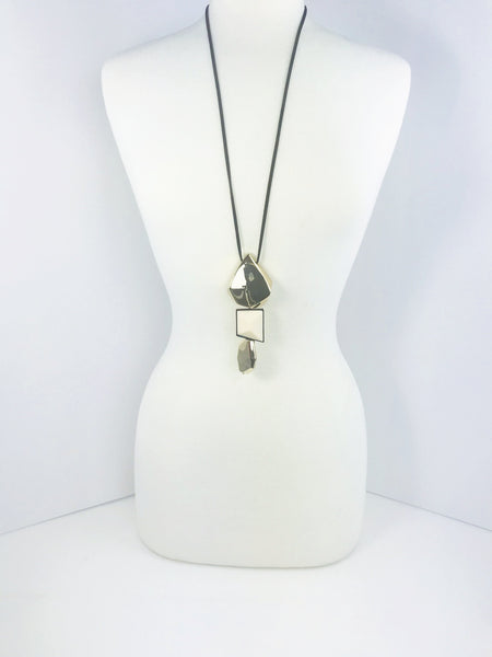 Modern Gold and Cream Geometric Necklace