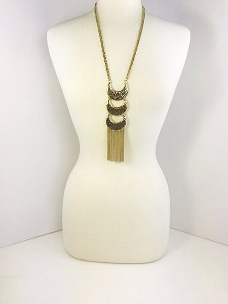 The Amber Long Gold Tassel Necklace
