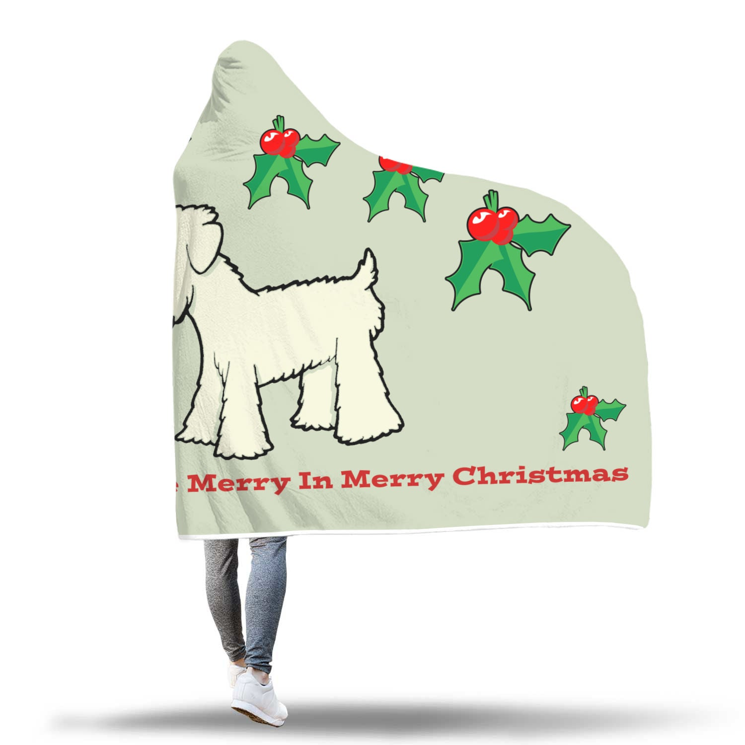 Wheaten Merry Christmas Hooded Blanket Red