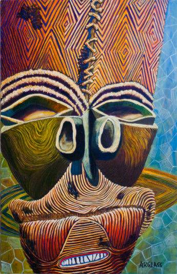 Hippopotamus Emerging from the Water--Painting of an African Mask