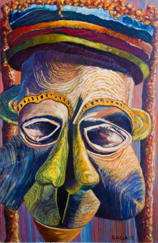 Marabout Healer--Painting of an African Mask-