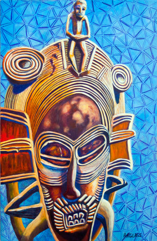Female Acrobat--Painting of an African Mask