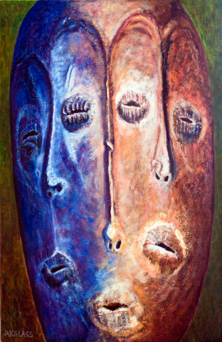 Bwami Three Faces--Painting of an African Mask