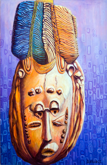 Pretty Woman Headdress/Mask--Painting of an African Mask