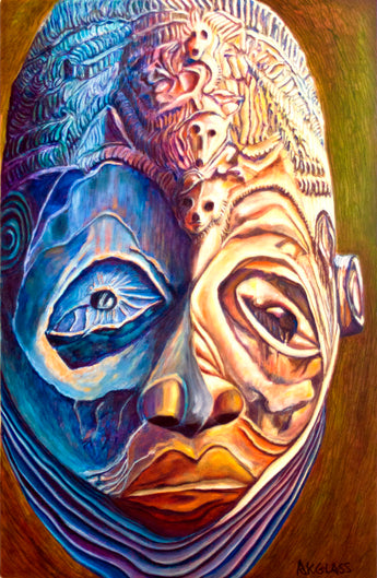 Okuyi Funeral Mask--Painting of an African Mask