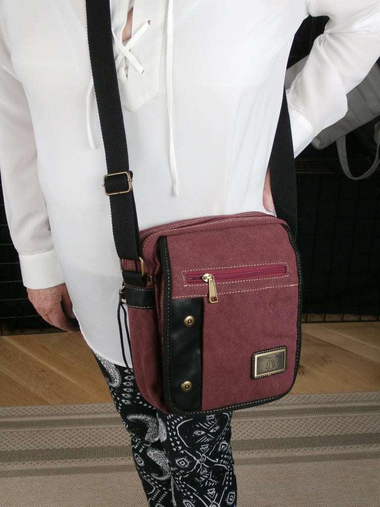 Burgundy Canvas  Concealed Carry  Bag   Padded Tablet Compartment and More!