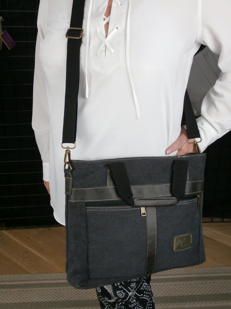 "The ""Canvas Briefcase""  A Large Concealed Carry Bag  Huge Interior - Room for a Tablet or Laptop and more!"