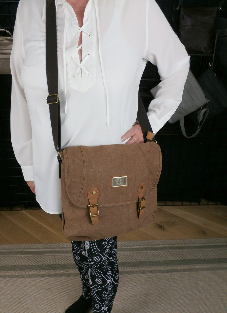 Charlie by Camille Conceals - Tan Canvas Messenger Business Concealed Carry Bag