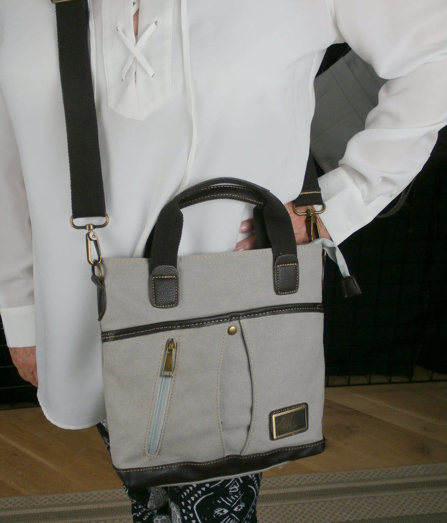 "The ""City Bag"" - A Grey Canvas Concealed Carry Satchel with a Strap!"