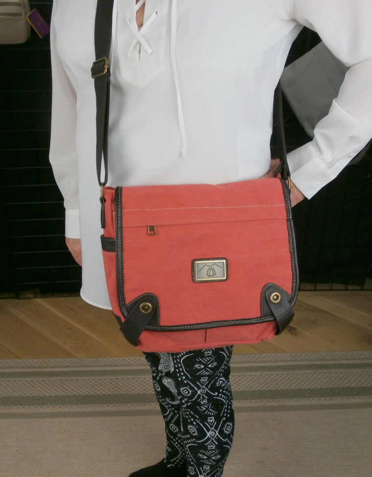 Camille Conceals Coral Messenger Canvas Concealed Carry Bag  - Roomy - Ambidextrous Holster