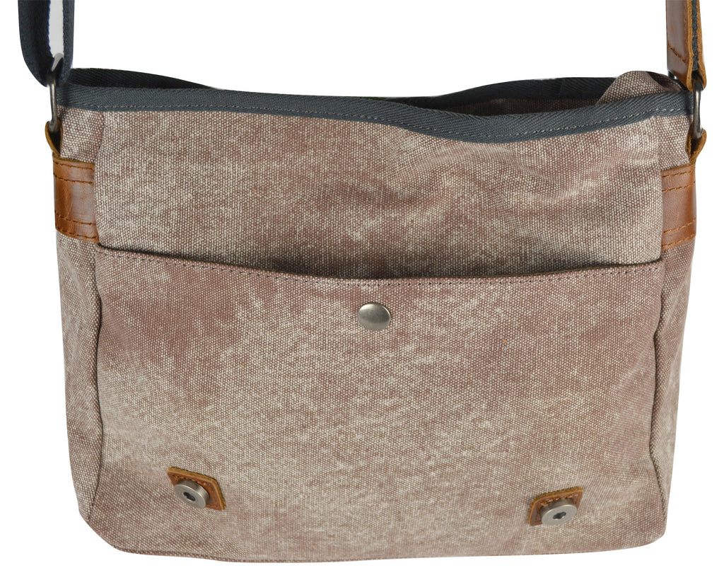 Mottled Cocoa Canvas Crossbody Concealed Carry bag with Tapestry Messenger Flap and  Genuine Leather Trim