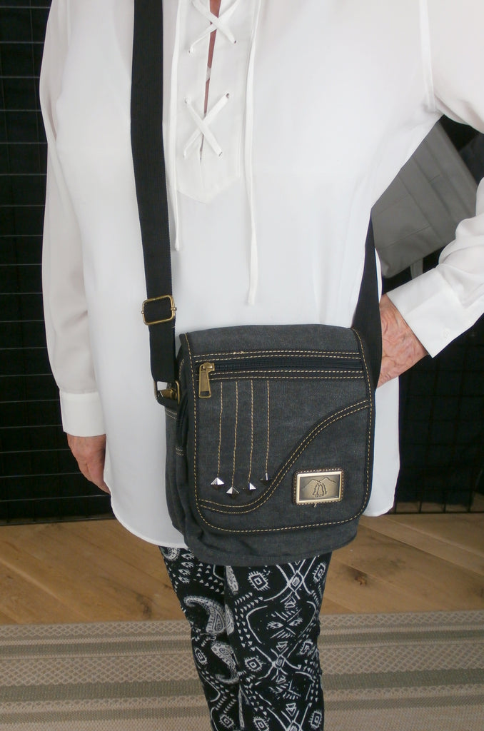 Camille Conceals Falling Star - A Black Canvas Shoulder/Cross Body Concealed Carry Bag
