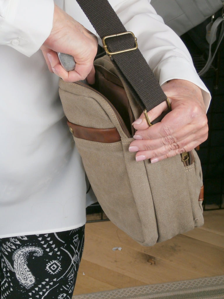 Camille Conceals Light Brown Canvas Concealed Carry  Bag   Padded Tablet Compartment  and More!