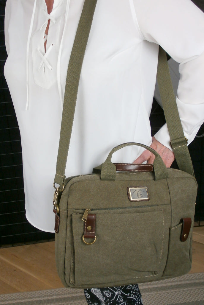 Camille Conceals - Green Canvas Briefcase Concealed Carry Bag