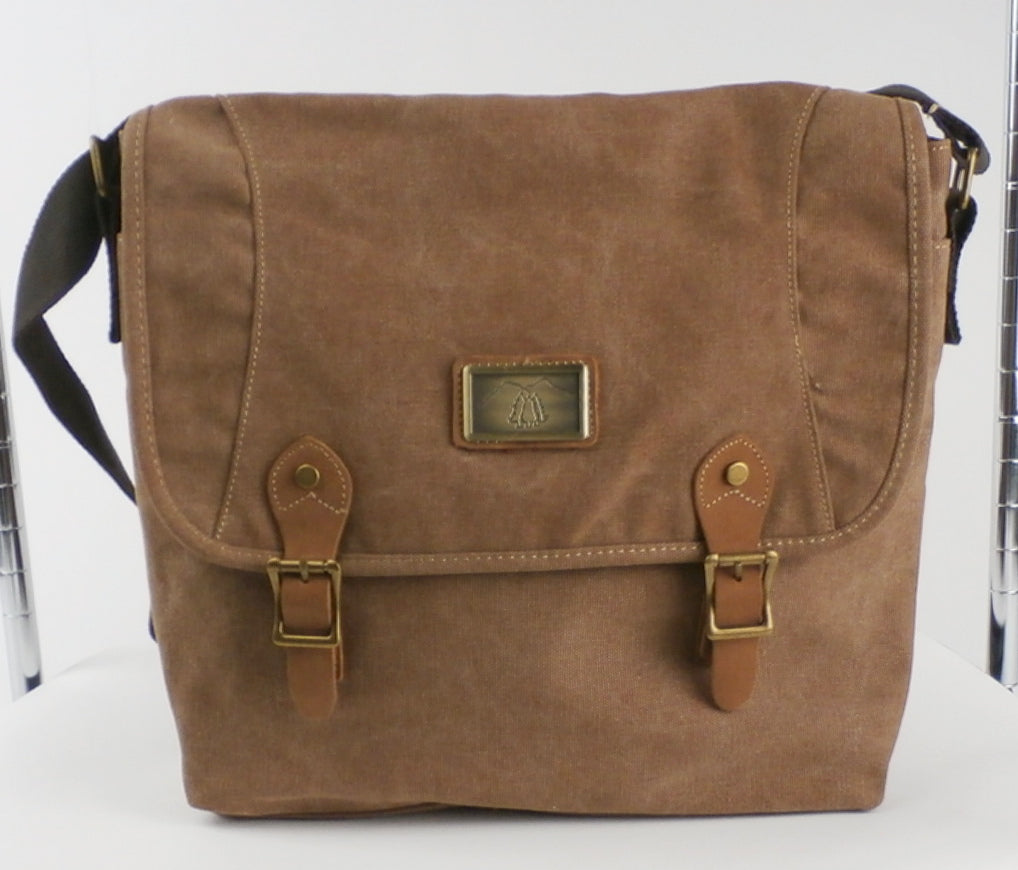Camille Conceals Charlie Tan Canvas Concealed Carry Messenger Bag