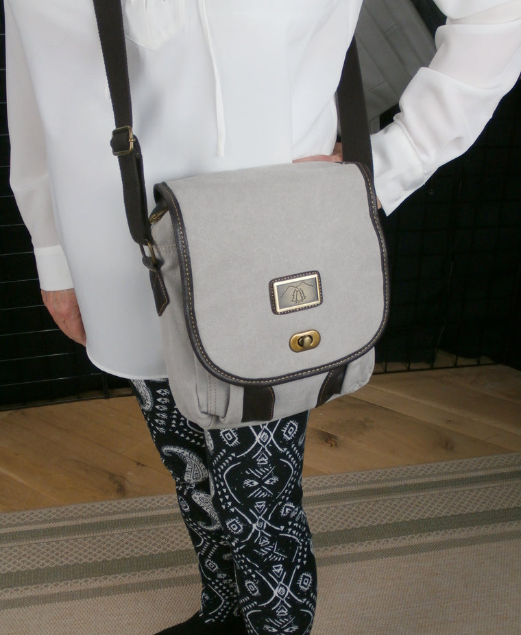 Camille Conceals Grey Canvas Messenger Concealed Carry  Bag  Room for a Tablet or Laptop and More!
