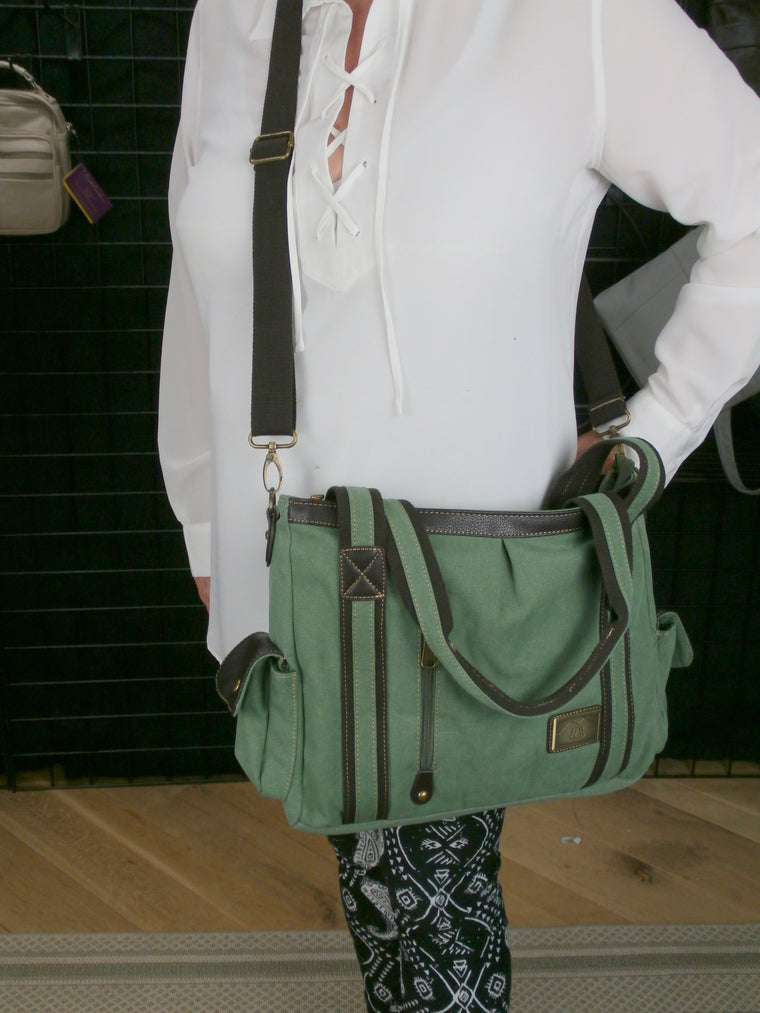 "Roxanne - the ""Business Casual""  Canvas Shoulder/Cross Body Concealed Carry Briefcase/Tote /Mom Bag"