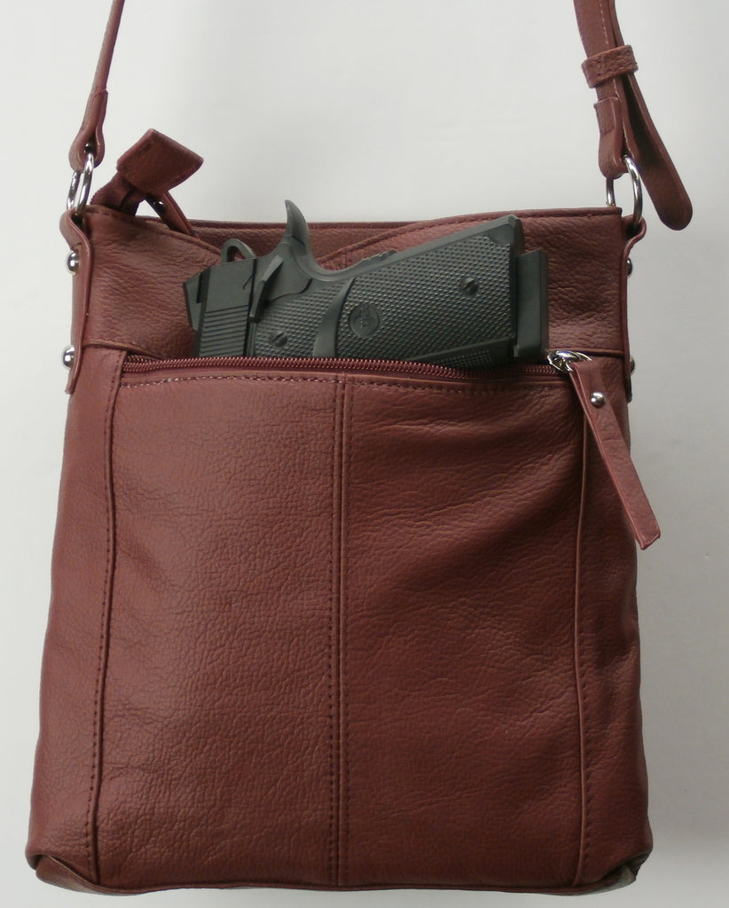 "Camille Conceals ""Laura"" - Genuine Leather Concealed Carry Crossbody Purse with Top Draw™ Holster"