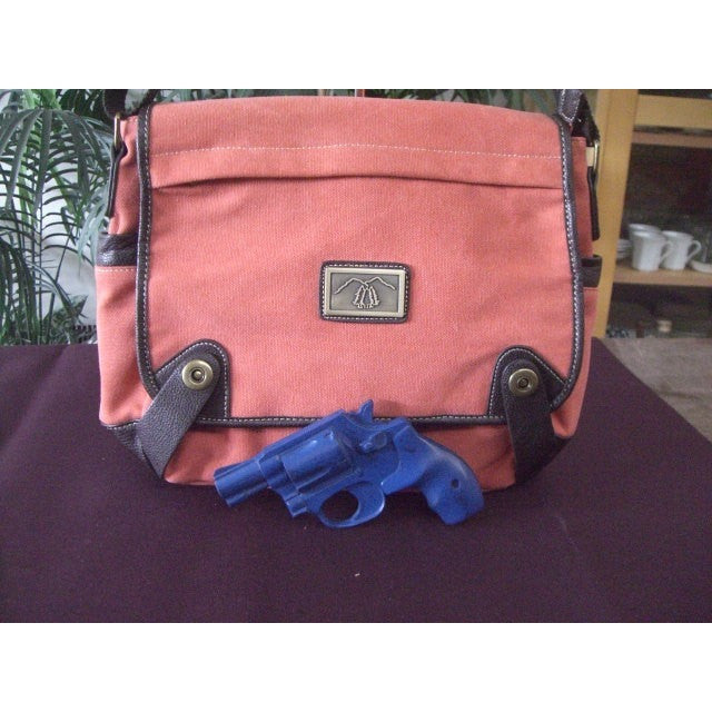 Camille Conceals Coral Messenger Canvas Concealed Carry Bag