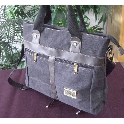 Camille Conceals Canvas Concealed Carry Briefcase Side Profile