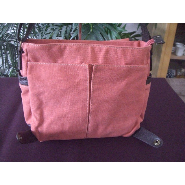 Camille Conceals Coral Messenger Canvas Concealed Carry Bag Under Flap