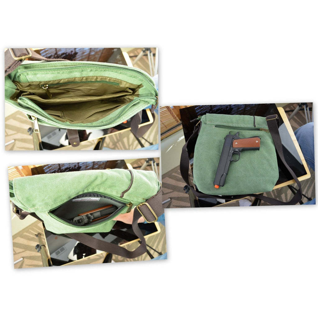 "Camille Conceals ""Alice""  - Spacious Concealed Carry Messenger Bag -  Interior Views"