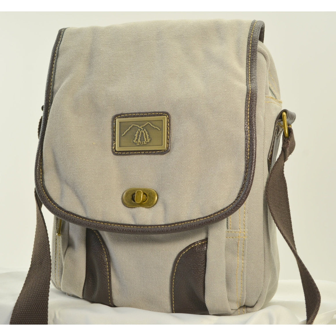 Camille Conceals Pearl Grey Canvas Concealed Carry Messenger