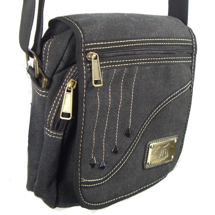 Camille Conceals Falling Star Black Canvas Concealed Carry Bag Three Quarter View