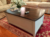 3-Drawer Antique White & Walnut Coffee Table