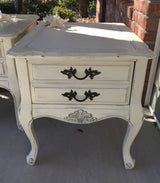 Antique White French Provencal End Tables
