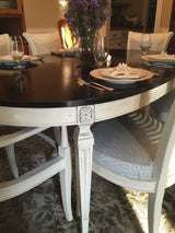 Custom: French Country Antique White & Walnut Dining Table