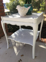 Graceful White over Grey French Side Table