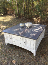 Coastal Gray & White Coffee Table